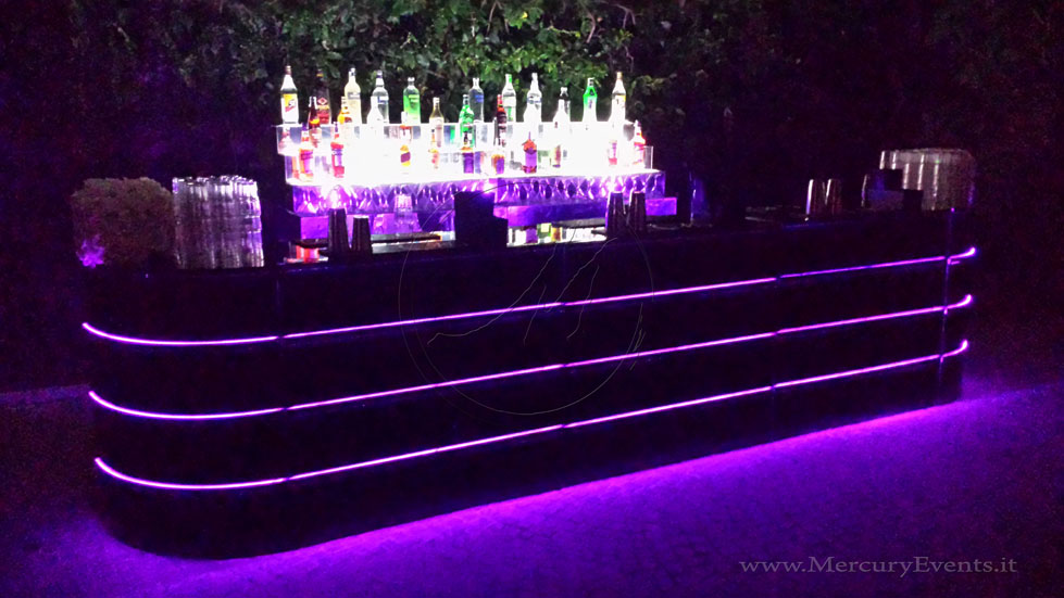 Black MIrror Bar | Bar Luminoso Specchiato Nero | Castello della Crescenza | Mercury Events| 04