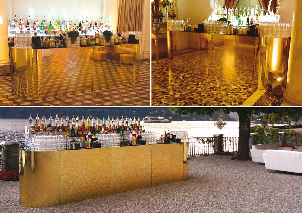 Gold_mirror_bar_bancone_oro_mercury_events_open_bar PRADA Donna, Evento Open Bar