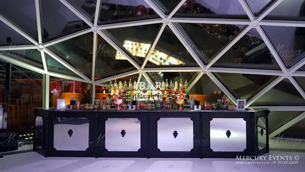 bancone bar vintage design legno nero