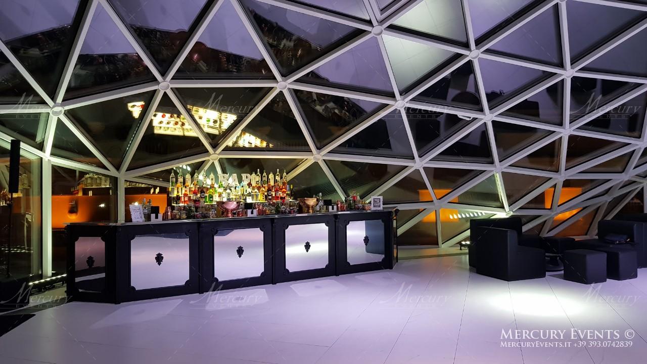 bancone bar vintage legno nero bar catering roma la lanterna mercury events
