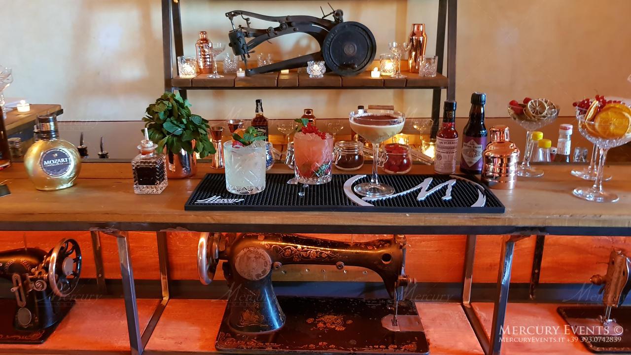 bancone vintage singer castello di decima open bar