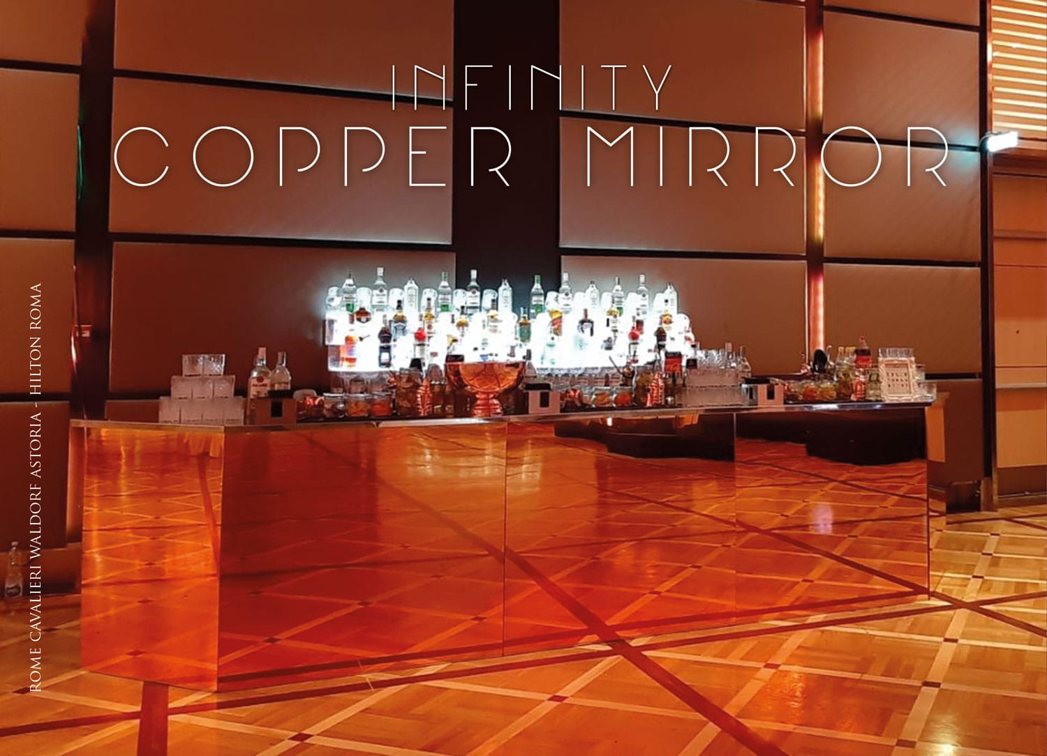 infinity copper mirror bancone